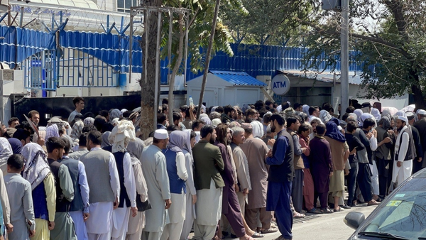 Queues for a bank in Kabul earlier this month