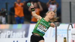 Mary Fitzgerald competing in the women's shot put F40 during the 2019 World Para Athletics Championships in Dubai