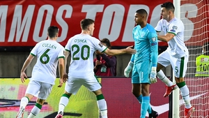 Gavin Bazunu is congratulated by his team-mates after saving the Cristiano Ronaldo penalty