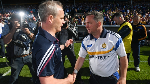 Míchéal Donoghue and Davy Fitzgerald pictured in 2016