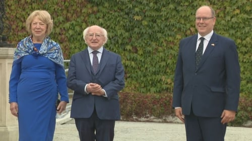 President Michael D Higgins, Sabina Higgins and Prince Albert of Monaco pictured at Áras an Uachtaráin