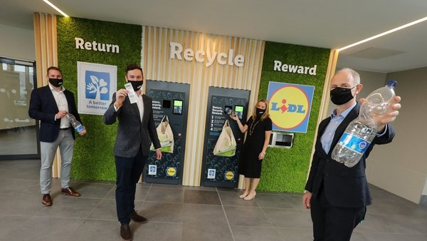Lidl said its customers can deposit used plastic drink bottles and aluminium cans in return for money-back vouchers redeemable in-store