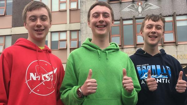 Triplets Daniel, Cian and Adam O'Reilly at Coláiste na Spioraid Naoimh, Bishopstown