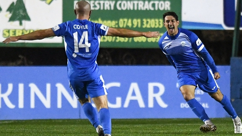Jordan Mustoe celebrates scoring Finn Harps' opening goal