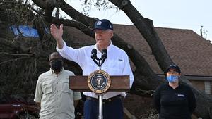 US President Joe Biden visits a neighborhood affected by Hurricane Ida in LaPlace, Louisiana