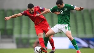 Ireland's Josh Cullen in action against Emin Makhmudov of Azerbaijan