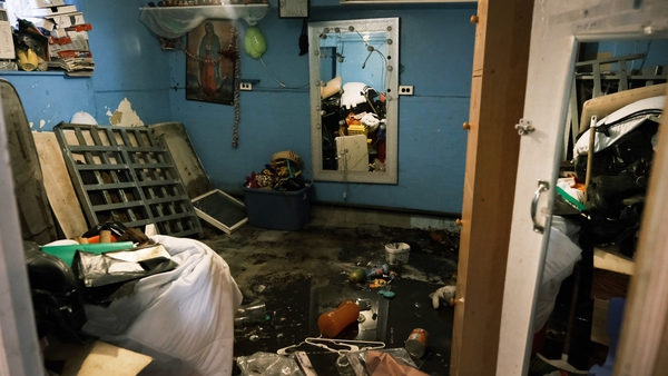A flooded basement level apartment pictured in a Queens neighbourhood in New York