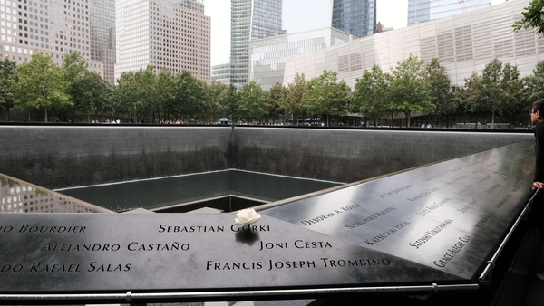 The twin towers memorial is a calm, reflective place - a far cry from the chaos that gripped this exact spot two decades ago