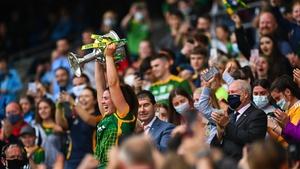 Meath captain Shauna Ennis lifts the Brendan Martin Cup