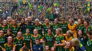 Meath players celebrate in front of their supporters at Croke Park