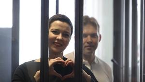 Maria Kolesnikova and Maxim Znak seen ahead of the verdict