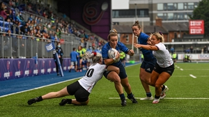 Michelle Claffey of Leinster scores her side's sixth try against Ulster