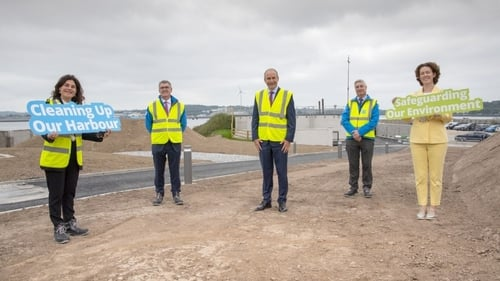 Taoiseach Micheál Martin was joined by Johanna Murphy, the Cobh and Harbour Chamber President; Tony Keohane, Chairman of the Ervia board; Eamon Gallen, the General Manager at Irish Water; and Cllr Gillian Coughlan, Mayor of Cork County Council