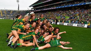 Meath players celebrating yesterday's historic occasion