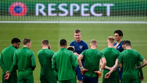 Stephen Kenny takes a squad training session ahead of the Serbia game