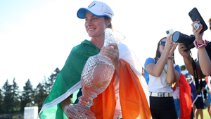 Leona Maguire of Team Europe celebrates with the Solheim Cup