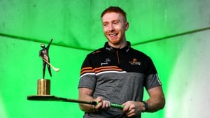 PwC GAA/GPA Hurler of the Month for August, Cian Lynch (Limerick) with his award today at his home club Patrickswell GAA