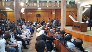 Taliban spokesperson Zabihullah Mujahid holds a press conference in Kabul (Getty)