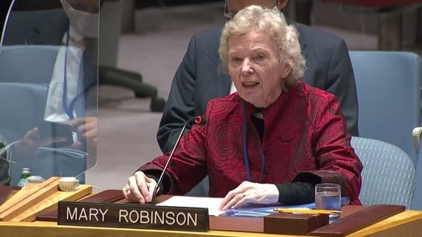 Mary Robinson was speaking at a meeting on the maintenance of international peace and security
