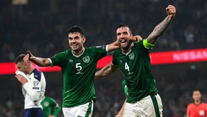 Ireland celebrate a late goal at the Aviva
