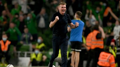 Stephen Kenny celebrates Ireland's equalising goal