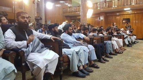 Taliban spokesman Zabihullah Mujahid addresses a press conference in Kabul on 7 September