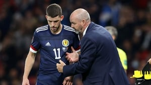 Scotland manager Steve Clarke (right) with Ryan Christie