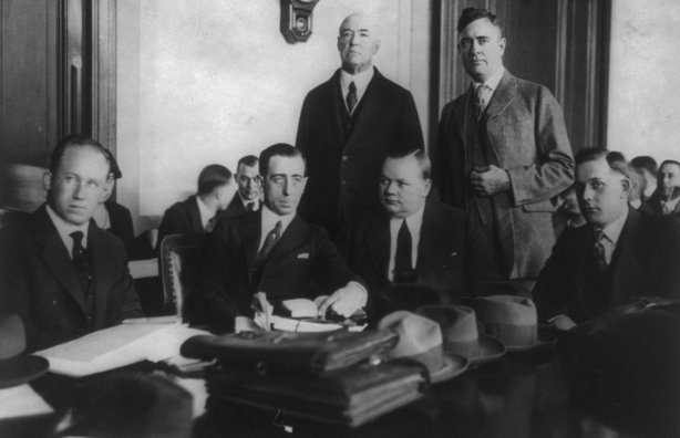 Century Ireland Issue 213 - Roscoe 'Fatty' Arbuckle with his legal team. Photo: Library of Congress