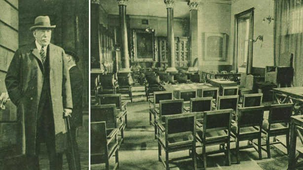 Century Ireland Issue 213 - James Craig and the temporary House of Commons in the Assembly College in Belfast where the Parliament of Northern Ireland has been sitting Photo: Illustrated London News [London, England], 1 October 1921