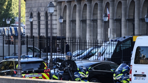 French Gendarmes escort Salah Abdeslam to the trial which is expected to last until May 2022