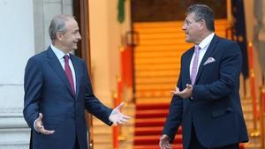 Mícheál Martin and Maroš Šefcovic at Government Buildings this evening