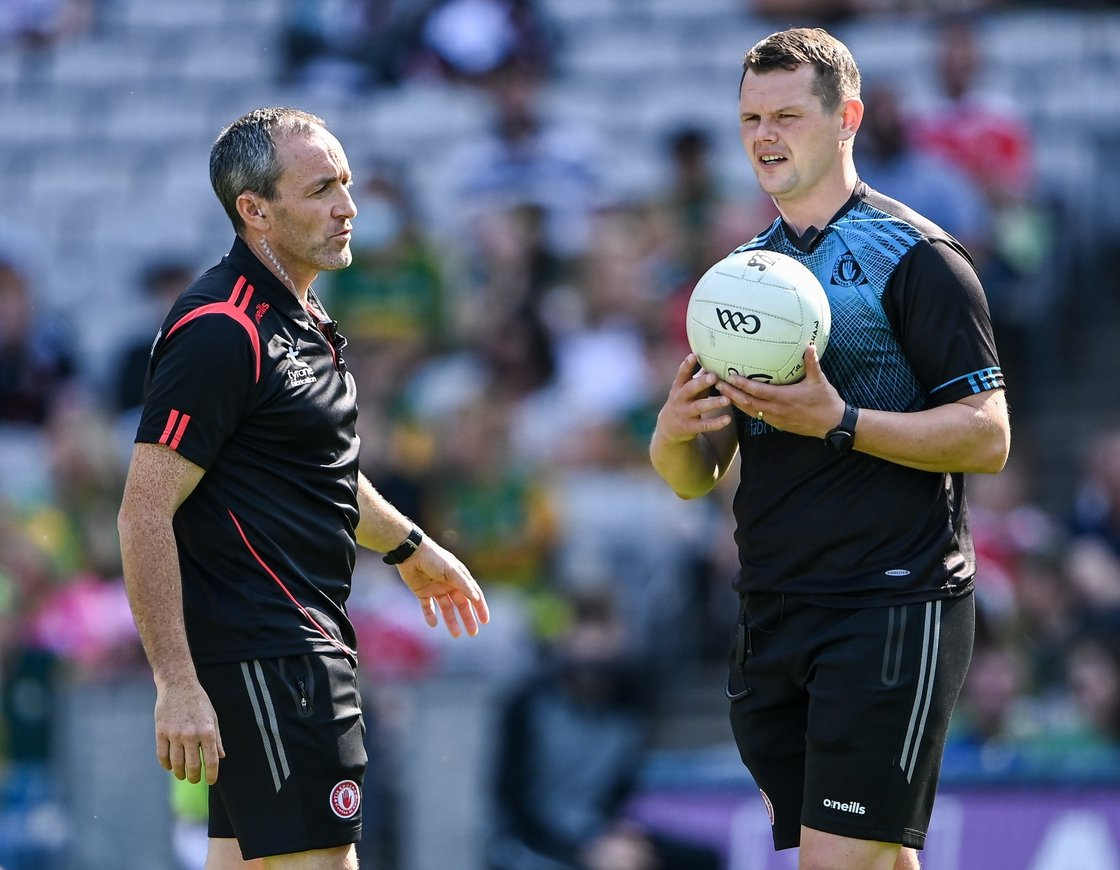 Image - Tyrone joint-manager Brian Dooher, left, with Tyrone strength and conditioning coach Peter Donnelly