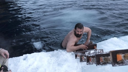 Colin Farrell taking a quick dip in the Arctic Ocean