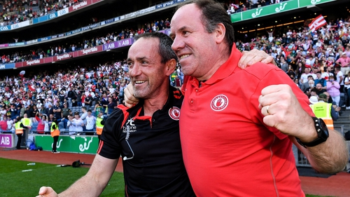 Brian Dooher (L) and Feargal Logan are aiming to become the first managers apart from Mickey Harte to guide the county to the All-Ireland title