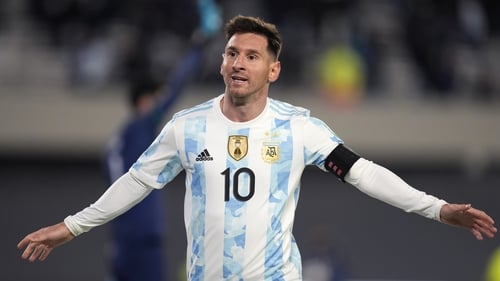 Messi celebrates his third goal on the night and 79th overall goal for Argentina