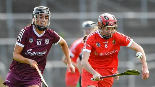 Katrina Mackey of Cork in action against Niamh McGrath of Galway in this year's league semi-final