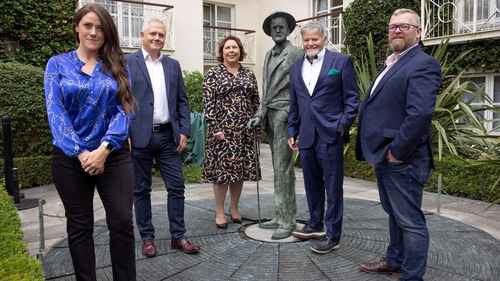 (L-R) iQuest CEO, Sarah Murphy; RED C Research CEO, Richard Colwell; RED C MD, Sinéad Mooney; Business Post Group CEO, Enda O'Coineen; Business Post Group, COO, Colm O'Reilly