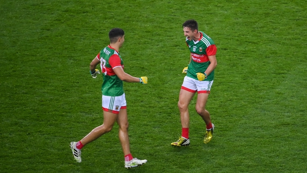 Tommy Conroy (L) and Enda Hession celebrate after beating Dublin