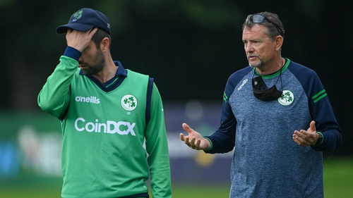 Ireland head coach Graham Ford and captain Andrew Balbirnie during a rain delay