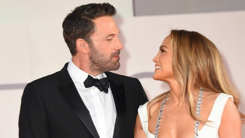 Ben Affleck and Jennifer Lopez attend the red carpet of the movie The Last Duel during the 78th Venice International Film Festival