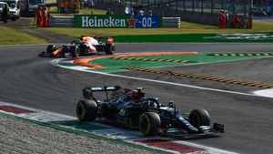 Valtteri Bottas driving ahead of Red Bull's Max Verstappen during the sprint race