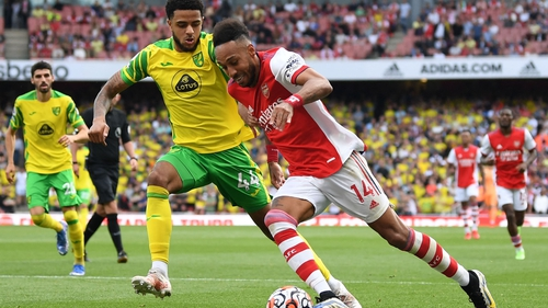 Andrew Omobamidele (L) kept Arsenal striker Pierre-Emerick Aubameyang quiet for most of the afternoon