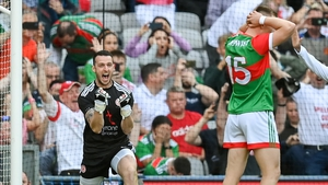 Niall Morgan celebrates as Ryan O'Dnoghue (R) penalty goes wide