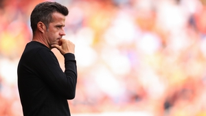 BLACKPOOL, ENGLAND - SEPTEMBER 11: Marco Silva the head coach / manager of Fulham looks on during the Sky Bet Championship match between Blackpool and Fulham at Bloomfield Road on September 11, 2021 in Blackpool, England. (Photo by Robbie Jay Barratt - AM