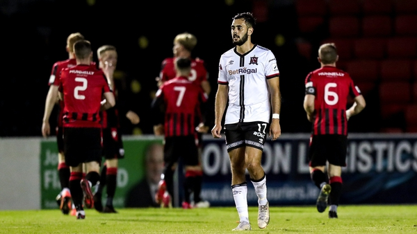 Longford Town celebrate their goal as Sami Ben Amar of Dundalk reacts to his side's concession