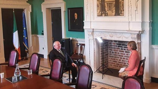 Ceann Comhairle Sean Ó Fearghaíl speaking to RTÉ's Aine Lawlor