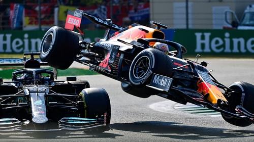 Lewis Hamilton and Max Verstappen collide