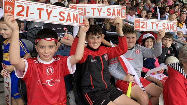 Tyrone fans welcome welcome the All-Ireland champions to Healy Park in Omagh