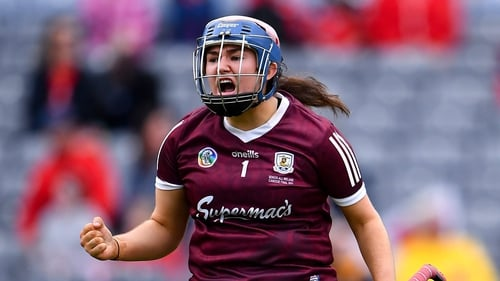 """Galway goalkeeper Sarah Healy celebrates the """"highlight of her year"""""""
