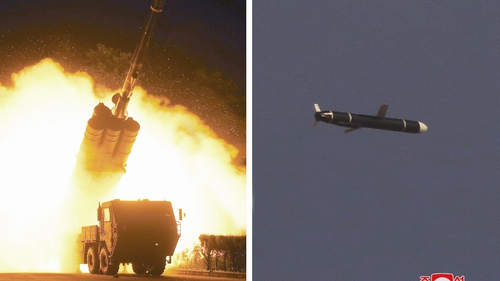 An undated combination photo released today by KCNA shows the test firing of a long-range cruise missile